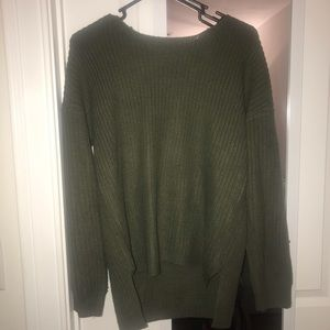 green open back sweater